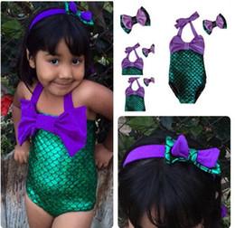 Wholesale Hot Children Bikini - HOT Lovely Girl Kids Swimmable Mermaid Tail Swimwear Children Bikini Bathing Suit Swimsuit Beach Wear Baby Swimming Costume headband