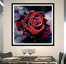 Wholesale Red Living Room Decor - The Red Rose DIY Diamond Embroidery DIY Needlework Diamond Painting Cross Stitch 5D Rhinestones Painting Home Decor Without Frame