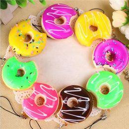 Wholesale Bread Accessories - Creative simulation bread phone pendant doughnut Mobile phone chain Colorful bread ring Accessories pendant 1000PCS YYA854
