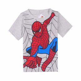 Wholesale Boys Cartoon Summer Tops - Free shipping Spiderman Super Hero New Lovely printting Baby Kids Boys Cartoon Tops T-shirts summer children's clothing Age 2-6Y