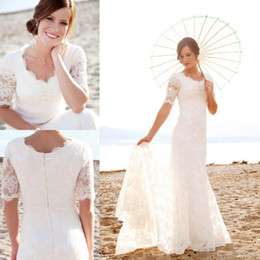 Wholesale Castle Princess Bride - Modest Short Sleeves Wedding Dresses with Pearls For Beach Garden Elegant Brides Hot Sale Cheap Lace Bridal Gowns Vestidos New
