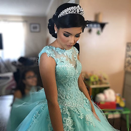 Wholesale Corset Open Back Lace - Custom Made Mint Green Ball Gown Girls Quinceanera Dresses Open Back Corset Lace Sequins Tulle Cap 2017 Plus Size Sweet 16 Debutante Dress