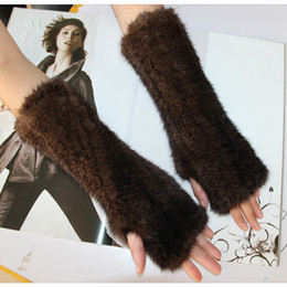 Wholesale men mink - Wholesale- Mink knitted gloves black and natural mahogany thicking genuine  gloves thermal gloves general