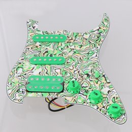 Wholesale Guitar St - Loaded Prewired Pickguard SSH Single-coil Pickup for ST Guitar Green Shell