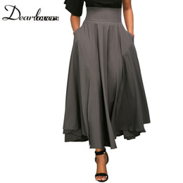 Wholesale Maxi Red Wines - Wholesale-Dear lovers 2017 New Autumn Winter Women Gray Retro High Waist Pleated Belted Maxi Skirt S-XXL LC65053 Blue Wine Red Black Pink