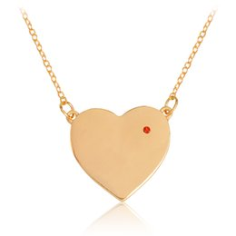 Wholesale heart shaped necklaces for girls - Heart shaped Pendant Necklace Rose Gold Red Crystal Rhinestones Chain For Women Girl Fashion DIY Jewelry Gift