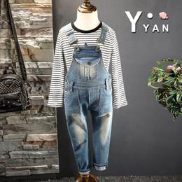Wholesale Korean Boy Jeans - Hot sale Fashion Spring Korean Boys Pants Children Jeans Kids Suspender Thouser Suspender Jeans Braces baby casual pants Denim Lovekiss A68