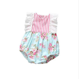 Wholesale Floral Cotton Lace Trim - Striped Baby Clothes Small Girls Floral Bodysuit Lace Trim Baby Girls Playsuit Cotton Summer Girls Clothing Newborn Birthday Outfit