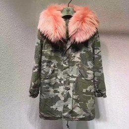 Wholesale White Fur Lined Coat - Camouflage shell long parka Mr Mrs itlay pink fox fur lining Camouflage parka Mr Mrs furs warm coats Women snow Coats