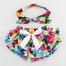 Wholesale Wholesale Satin Diaper Covers - 2017 NEW ARRIVAL baby girl kids toddler 2piece set cotton rose floral bloomers shorts short pants satin bow diaper covers + bowknot headband