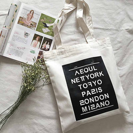 Wholesale Art Canvas Letters - Wholesale-women shoulder bags new fashion print English capital casual tote letter Literature and art hit color big canvas handbag,LB1700