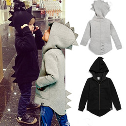 Wholesale Wholesale Child Coats - ins 2017 new spring and autumn Child dinosaur coat hoody 2 color cartoon ins Child dinosaur coat hoody