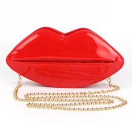 Bolso de embrague de forma de labios online-Al por mayor-Único de cuero de la PU Mujeres Bolso Messenger Bag Bolsas de noche Labios rojos Forma Mujeres Bolsos Monedero Señora Bolsa de embrague Shouder Bolsa