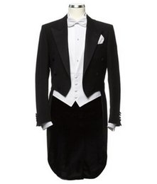 Wholesale Men S Suit Jacket Tailcoat - Wholesale- Classic Style Black Tailcoat Groom Tuxedos Groomsmen Mens Wedding Suits Prom Bridegroom (Jacket+Pants+Vest+Tie) NO:698