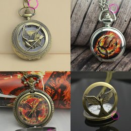 Wholesale Low Price Good Quality Watches - Wholesale- retro 2 two bronze vintage fashion cool bird quartz the hunger games pocket watch wholesale low price good quality cheap hot