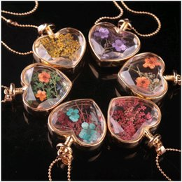 Wholesale Necklaces Glass Factory - Fashion Jewelry Flower Heart Necklaces Long Glass Perfume Bottle Dried Flowers Pendant Necklace for Women Factory Price