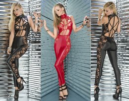 Wholesale Sexy Party Costume - Sexy Shiny PVC lingerie Catsuit Catwoman clubwear party Fancy Dress COSTUME b405