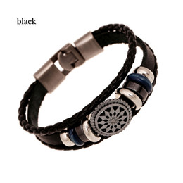 Wholesale Multi Rope Bracelets - Vintage Black Brown Genuine Leather Bracelet Braid Rope Multi-layer Bead Charm Bracelet Mens Jewelry Party Gifts Hot Wholesale