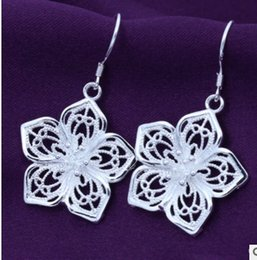 Wholesale Stacking Jewelry - 2017 New 925 Sterling Silver rose Shape flower classic stacked silver plated earrings 925 jewelry for women silver earrings