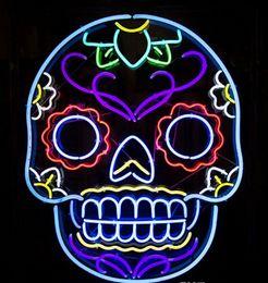 "Wholesale Neon Lights Decorating - New Skull Design Decorate Glass Neon Sign Light Beer Bar Pub Arts Crafts Gifts Lighting 22"""
