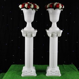 Wholesale Roman Supplies - 89cm Tall Wedding Plastic Column Roman Pillars Walkway Aisle Flower Stands Wedding Party Supply Free Shipping ZA3908