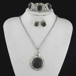 Wholesale Jade Rock Necklaces - S155 Black Lava Rock Stone Necklace Pendant & Earring & Bracelet Jewlery Set ,Women Gift,Vintage Look,Tibet Alloy
