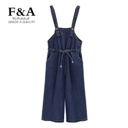 Wholesale Suspender Jeans Women - Wholesale- Top Quality Blue Vintage Plus Size Jeans Jumpsuit Women Suspender Denim Overalls Wide Leg Rompers Jumpsuits Large Size Playsuit