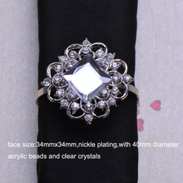 акриловые кольца для салфеток оптом Скидка Wholesale- (J0468-ring) 34X34mm rhinestone napkin ring for wedding table decoration,nickle plating,ring size:40mm,acrylic  in middle