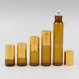 Wholesale Neck Glass Bottle - wholesale 1ml 2ml 3ml 5ml 10ml brown Glass Bottle(long neck) With stainless roller+gold lid(smooth),roll-on perfume deodorant bottle