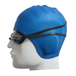 Wholesale Waterproof Swim Caps Hair - Wholesale- H750 Free shipping sale silicone waterproof protective ear hair caps prevent ears into the water