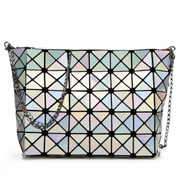 Wholesale Laser Cross - Wholesale-RHYME Fold Over Handbags Crossbody Bag Bao Bao Women Pearl bolso Laser Sac Bags Diamond Lattice Geometry Quilted Shoulder Bag