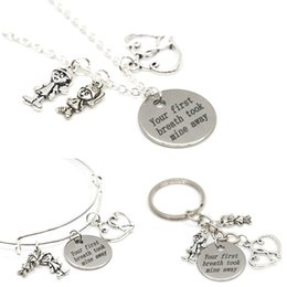 Wholesale First Stainless Steel - 12pcs Lover necklace charm your first breath took mine away boy and girl fall in love charm pendant necklace bangle keyring