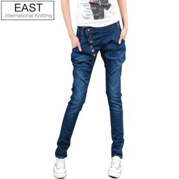 Wholesale East Knitting Fashion - Wholesale- East Knitting JE-016 2017 New Women Jeans harem pants Trousers Denim Plus Size Best Quality Fast Delivery
