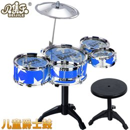 Wholesale Toys Plastic Musical Instruments - 2017 new simulation drum for children suit percussion instruments jazz drums musical instruments drums equipped with stool