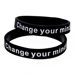 Wholesale Life Size Silicone - Hot Sell 1PC Change Your Mind Set Change Your Life Silicone Wristband Ink Filled Logo Adult Size