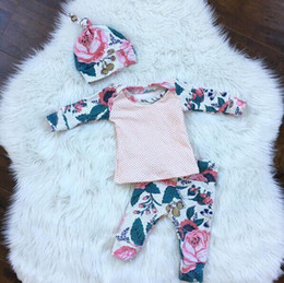 Wholesale Matching Hats - 2017 Ins children spring clothes sets girl floral T- shirt with matching long pants+hat 3Pcs sets bany ins clothing wholesale