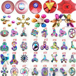 Wholesale Spiders Toys - Fidget spinner Rainbow Led Hand Spinners The Avengers Cartoon spider iron spider man toys spinning top EDC finger Toy in metal box