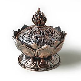 bronze lotus Rabatt Großhandel- Bronze klassischen Stil Weihrauch Räuchergefäß, Nachahmung Kupfer keine verblassen unzerbrechlich, Lotus-Form klassische Metallhandwerk