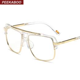 3102441a25 Wholesale- Peekaboo big fashion eye glasses frames for men brand black  clear frame latest male spectacle frames women men semi rimless