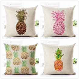 Wholesale Pineapple Patterns - High Quality Fashion Style Cotton Linen Cushion Cover Painted Pineapple Fruit Pattern Home Decor Bed Car Throw Pillows Decorative Cojines