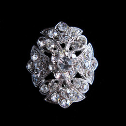 Wholesale Small Brooches For Wedding - Silver Plated Clear Crystal Small Flower Pin Brooch for wedding invitation