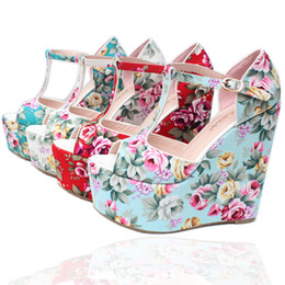 Wholesale Women Denim Wedges - Summer Ultra High Heels(15cm) Retro Women's Shoes Print Bohemian Thick Heels T-Strap Wedges Female Summer Sandals 30--43