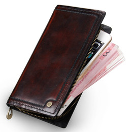 Wholesale Handmade Leather Coin Purse - Men Clutch Wallet 100% Genuine Leather Wallet Men Handmade Zipper Around Purse Brushoff Leather Clutches Bag Phone