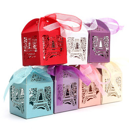 Wholesale Eiffel Tower Favor Boxes - Wholesale- 10pcs Love Heart Laser Cut Gift Candy Boxes Wedding Party Favor With Ribbon Luxury Eiffel Tower Gift 5 x 5 x 7 cm