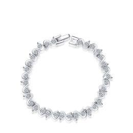 Wholesale Tennis Set Price - Silver Bracelet Diamond Tennis Bracelet Jewelry S Shape CZ Stone Shinny Charm Link Bracelet Factory Price 2060004745