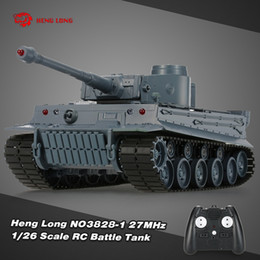 Wholesale Rc Tiger - Wholesale- HENG LONG 3828-1 1 26 Scale IR German Tiger Panzer 27MHz RC Battle Tank with Simulated Sound and Light 320Degree Turret Rotating