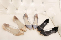 Wholesale Womens Toe Covers - Womens Single Shoes Flat Heels Shoe Pointed Toes Casual Girl's Shoes Heel 1 cm Flats Transparent