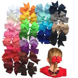 Wholesale Claw Hair Pins - 24pcs lot Fashion 3 inch Bows Hair Clips Boutique Hair Pin Grosgrain Ribbon Bows Hairpins Kids Headwear Accessories A066-5
