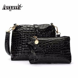 Wholesale quilted leather clutch - Wholesale-2PCS Bag Set Women Messenger Shoulder Bag Crocodile PU Leather Casual Crossbody Quilted Bags Set Women Clutch Composite Handbags