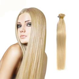 Wholesale Hair Blond Keratin - 0.5g s 50g Brazilian Human Hair #613 Platinum Blond Straight Keratin Nail U Tip Fusion Full Human Hair Extensions